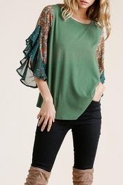 Umgee USA Floral-Animal Print Top - Front cropped