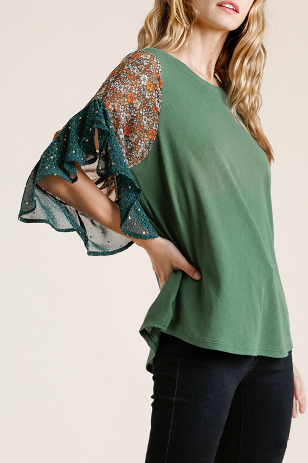 Umgee USA Floral-Animal Print Top - Front Full Image