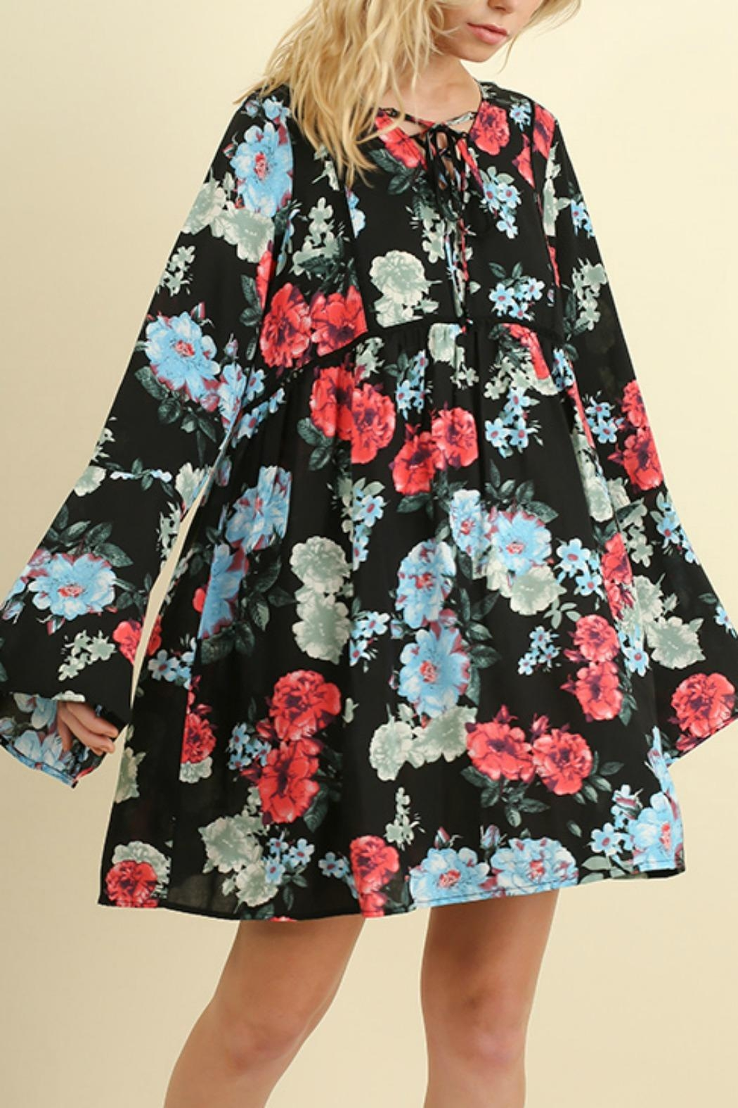 Umgee USA Floral Bell Sleeve - Front Full Image