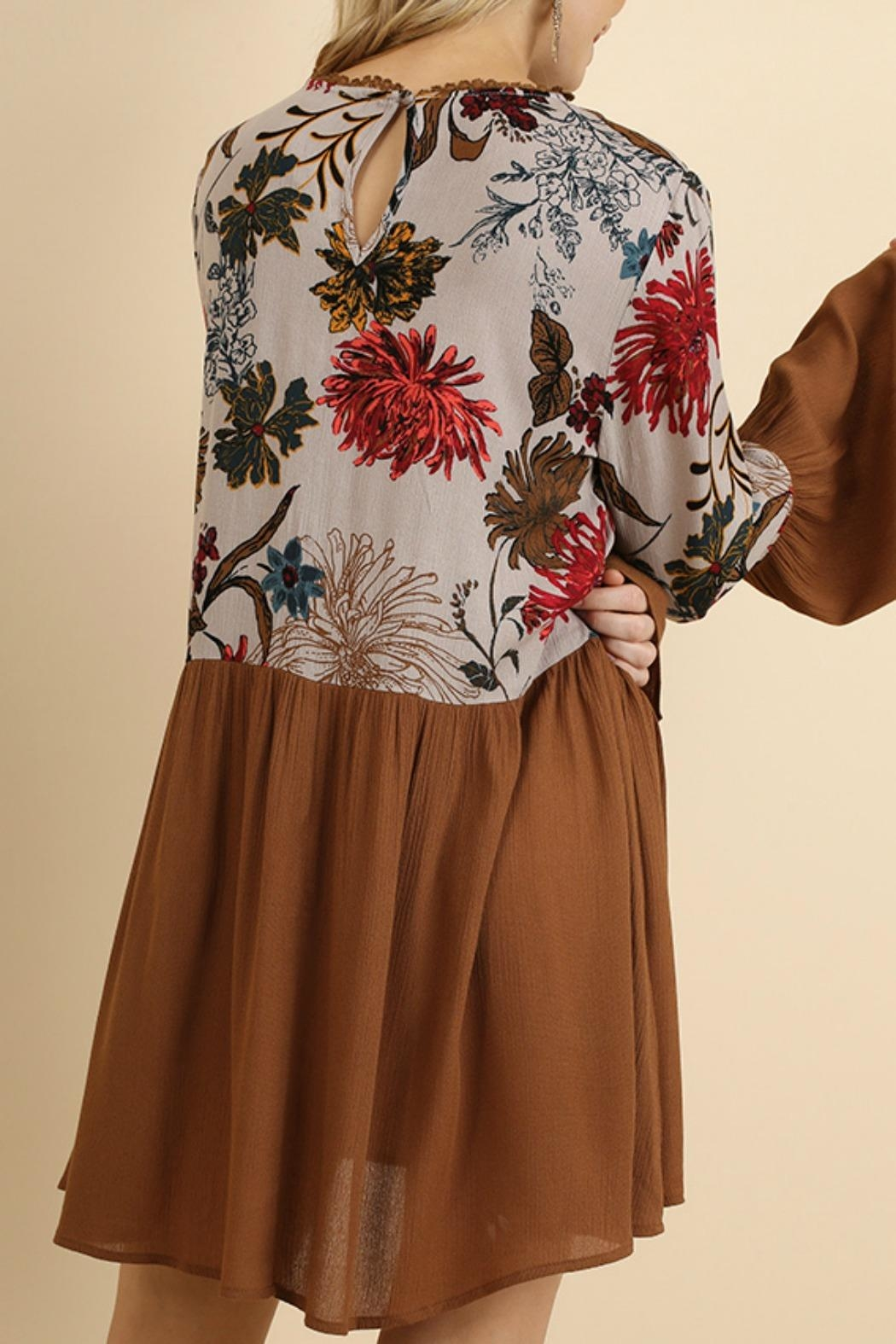 Umgee USA Floral Bell Sleeve - Back Cropped Image