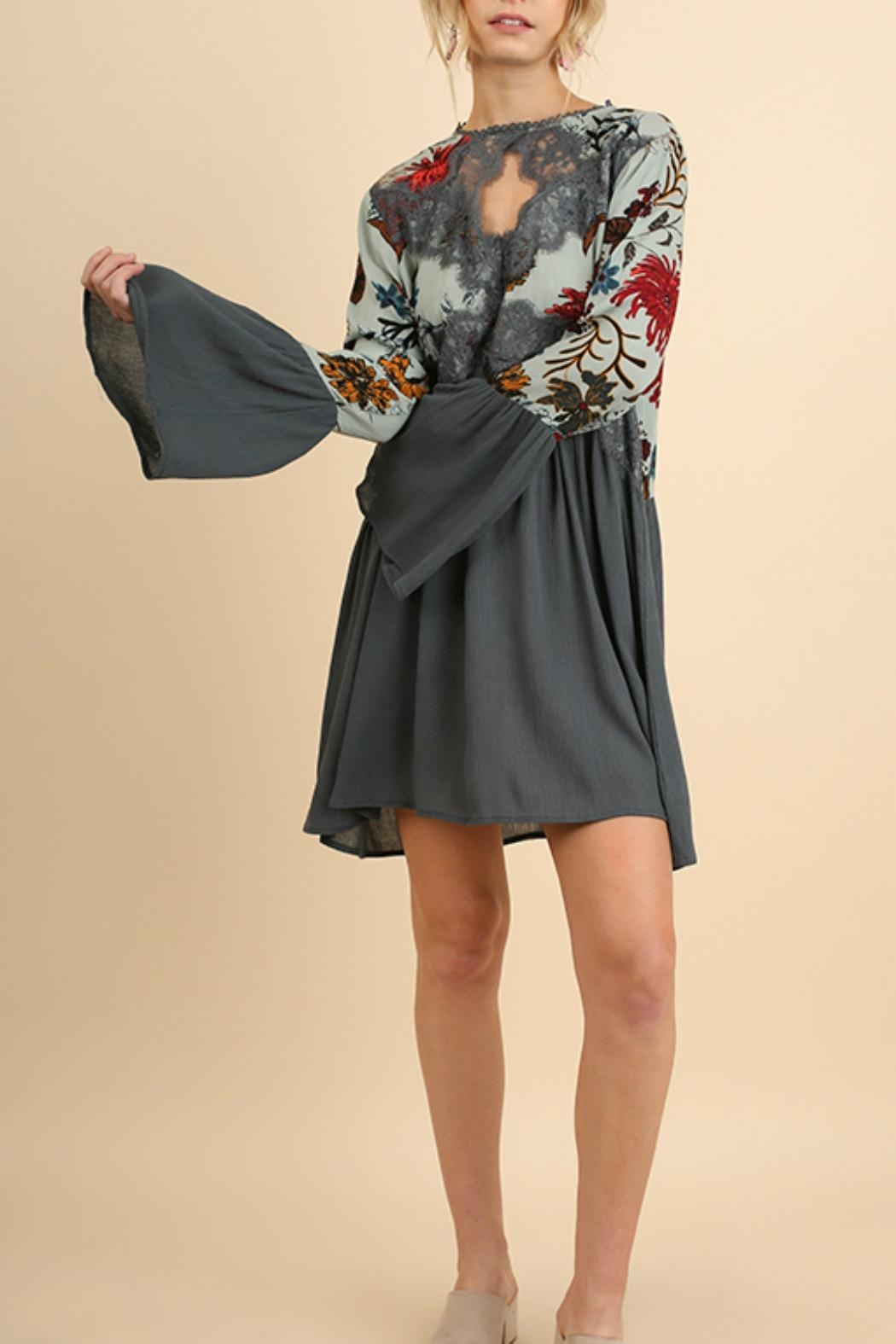 Umgee USA Floral Bell Sleeve - Front Cropped Image