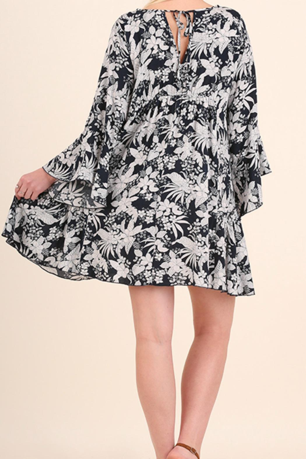 Umgee USA Floral Bell Sleeve Dress - Back Cropped Image