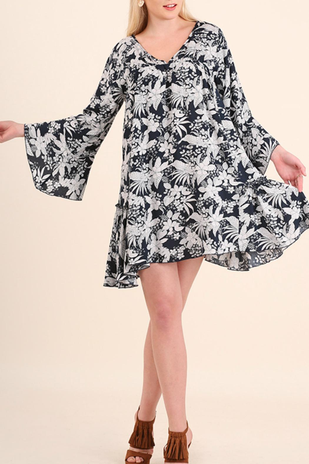 Umgee USA Floral Bell Sleeve Dress - Front Full Image