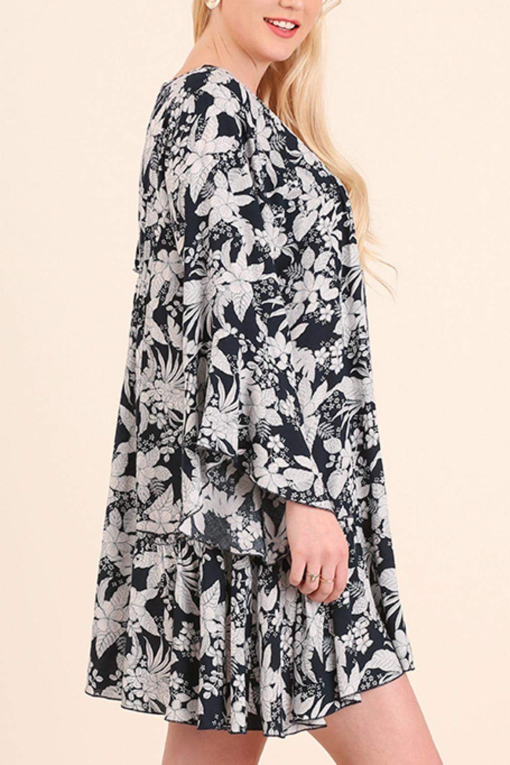 Umgee USA Floral Bell Sleeve Dress - Side Cropped Image