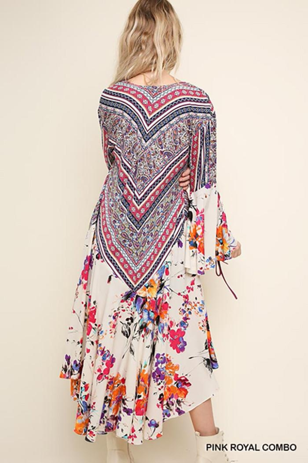 Umgee USA Floral Bell Sleeve Kimono - Front Full Image