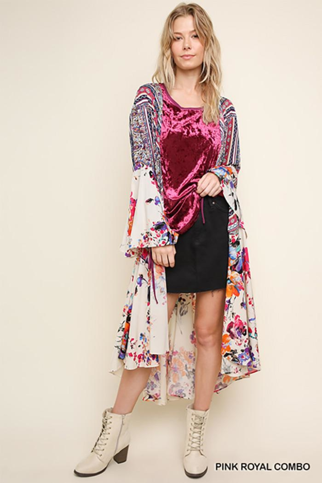 Umgee USA Floral Bell Sleeve Kimono - Front Cropped Image