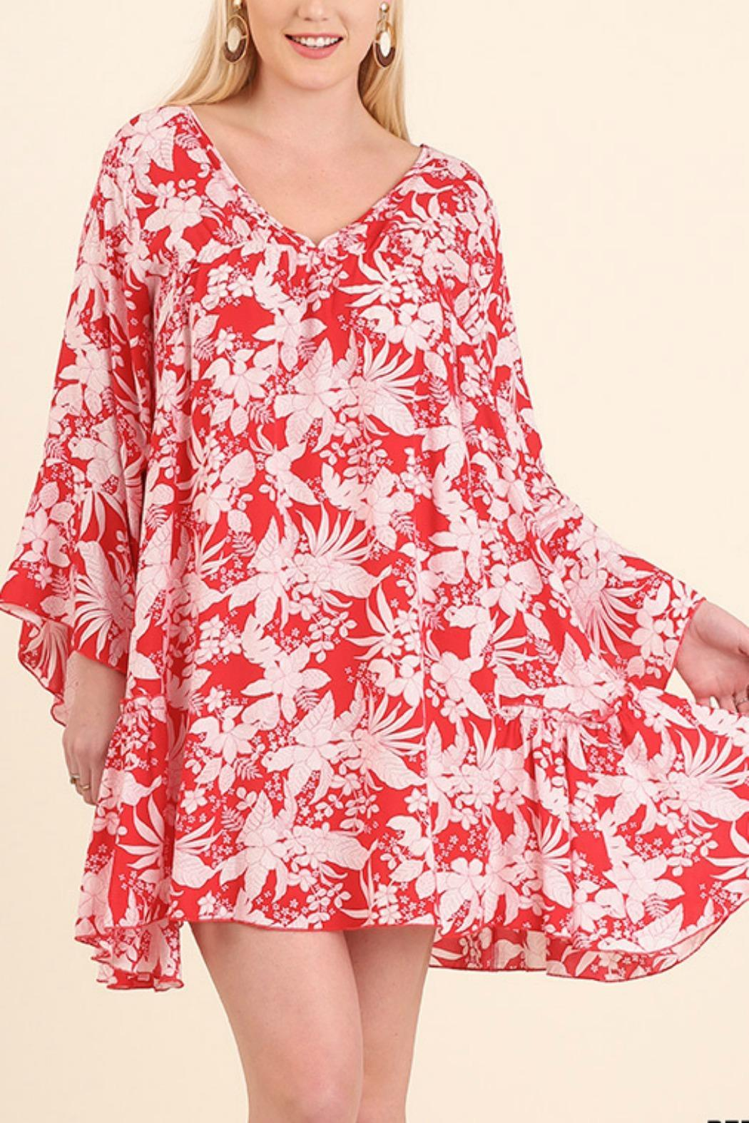 Umgee USA Floral Bell Sleeve Dress - Front Cropped Image