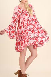 Umgee USA Floral Bell Sleeve Dress - Side cropped
