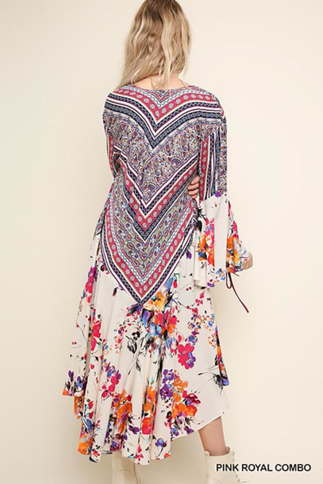 Umgee USA Floral Bell Sleeve With High Low Hem Kimono - Front Full Image