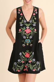 Umgee USA Black Floral Embroidered Dress - Product Mini Image