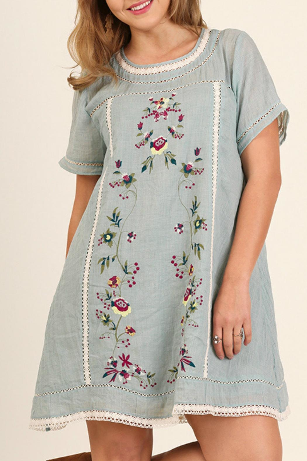 Gray Embroidered Dress