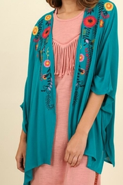 Umgee USA Floral Embroidered Kimono - Front cropped