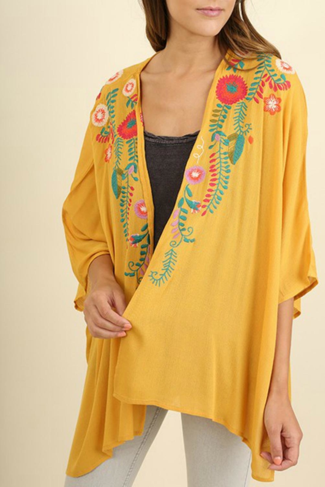 Umgee USA Floral Embroidered Kimono - Front Cropped Image