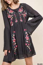 Umgee USA Floral-Embroidered Ruffle-Sleeve Dress - Product Mini Image