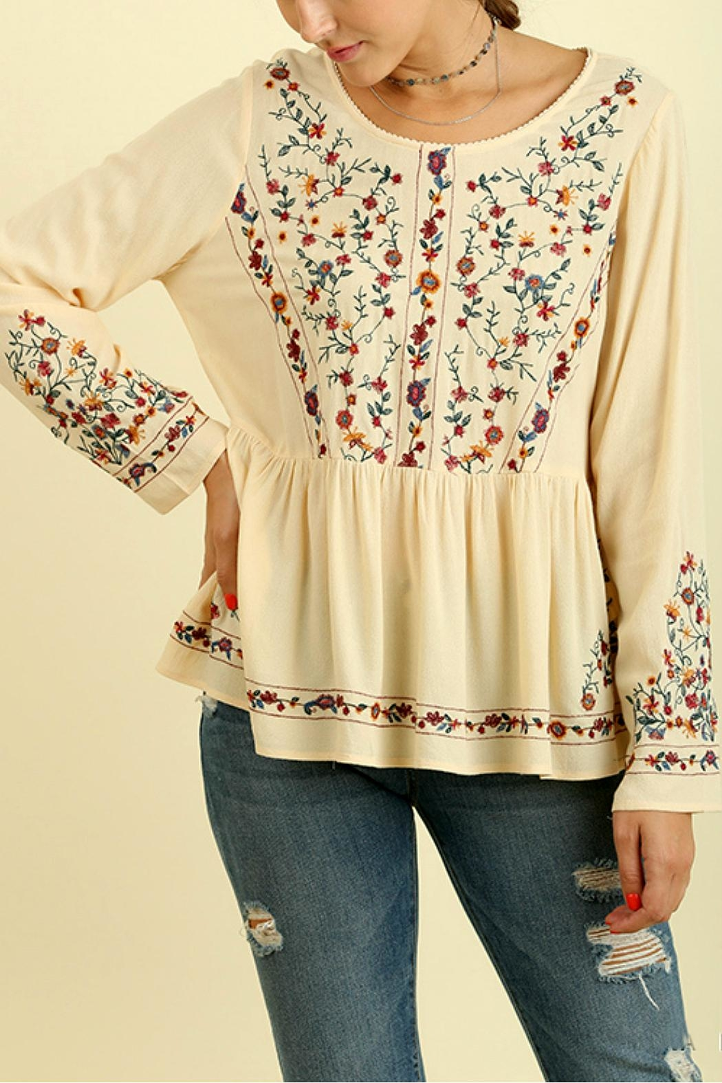 Umgee USA Floral Embroidered Top - Main Image