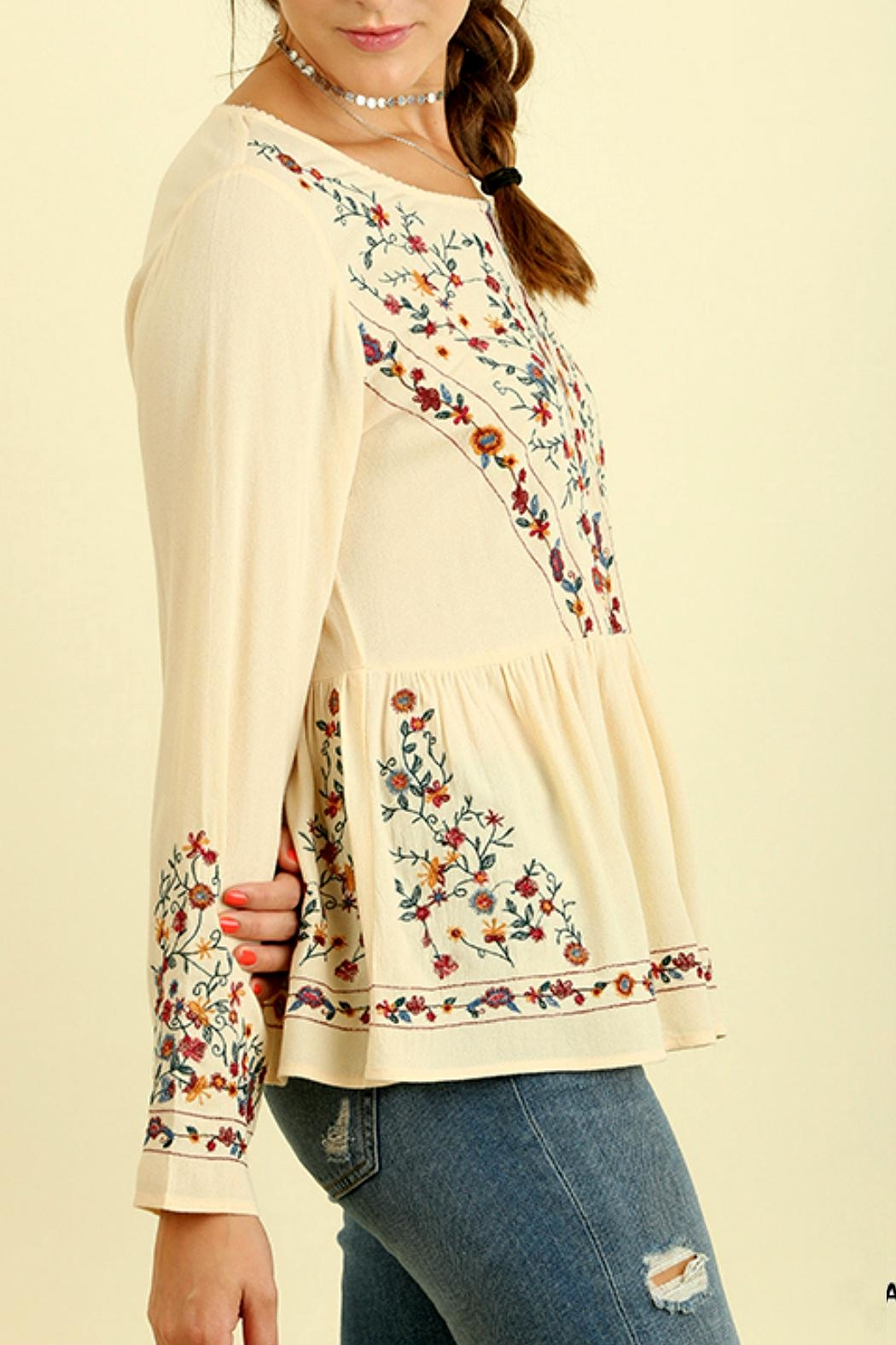 Umgee USA Floral Embroidered Top - Front Full Image