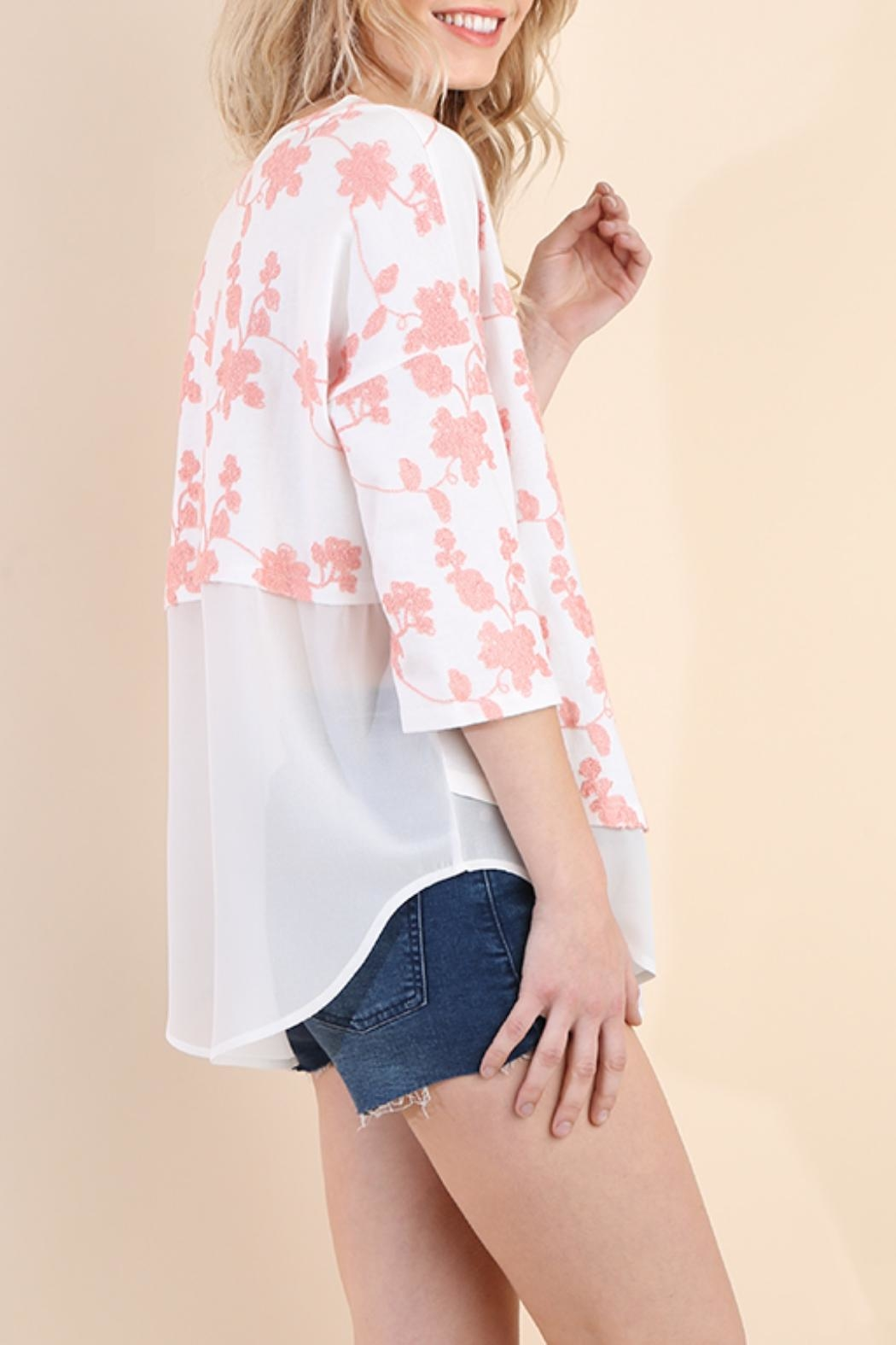 Umgee USA Floral Embroidered Tunic - Front Full Image