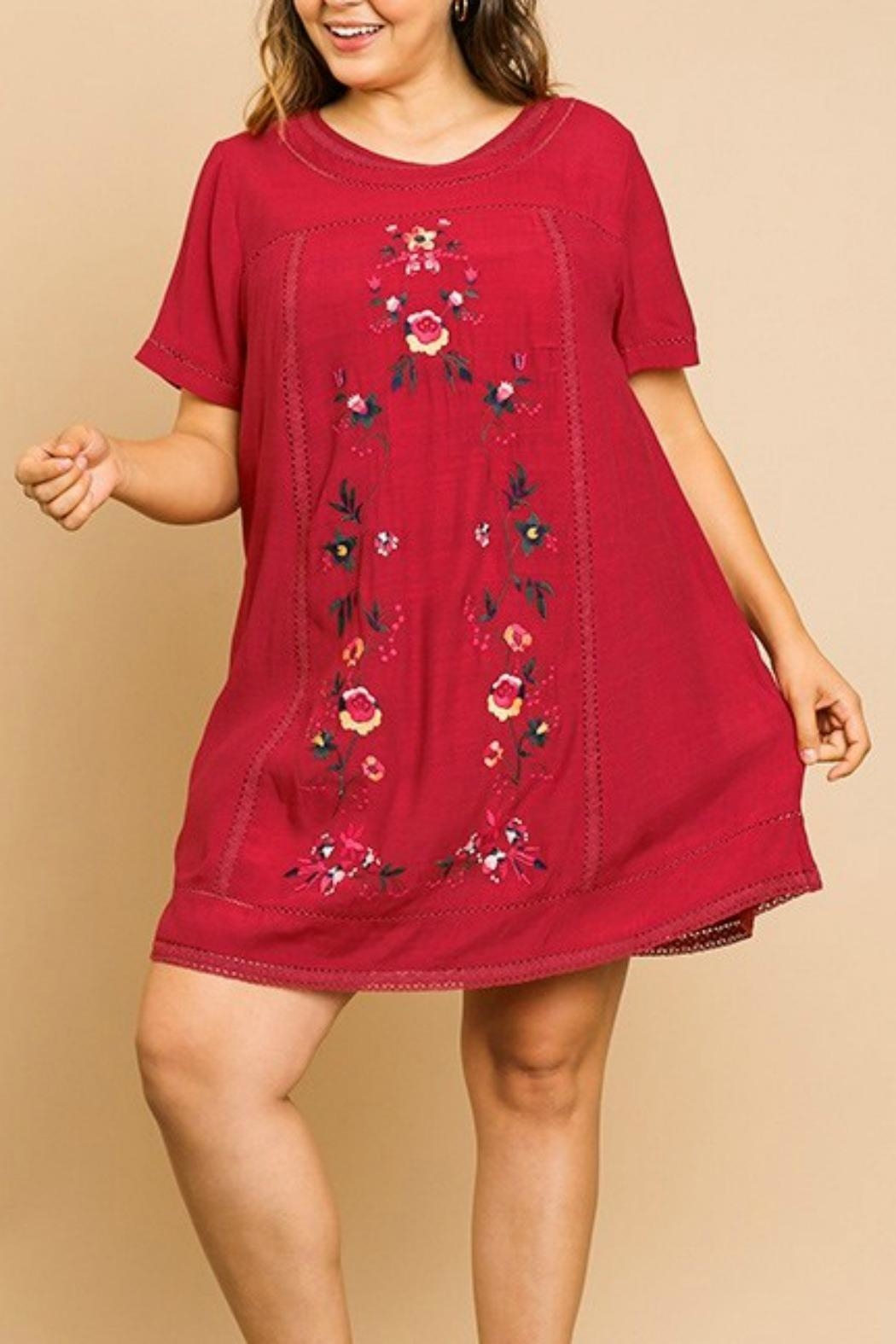 Umgee USA Floral Embroidery A-Line - Front Cropped Image