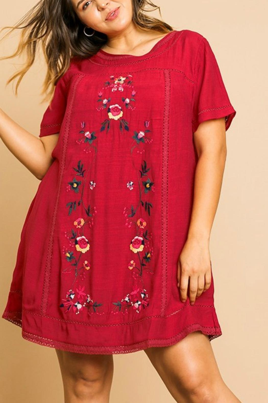Umgee USA Floral Embroidery A-Line - Front Full Image