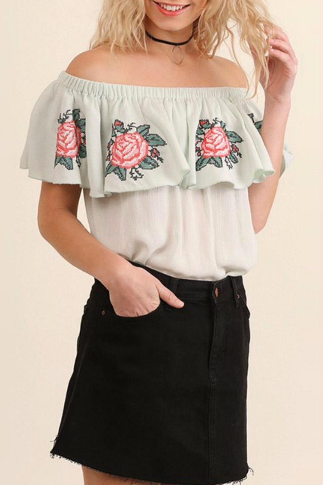 Umgee USA Floral Embroidery Top - Main Image