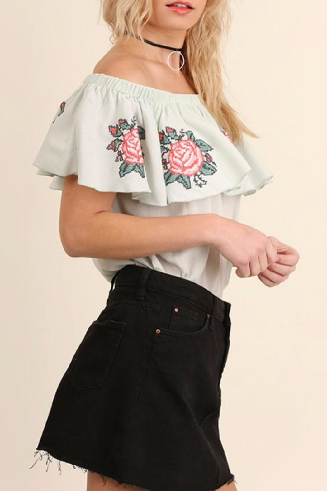 Umgee USA Floral Embroidery Top - Front Full Image