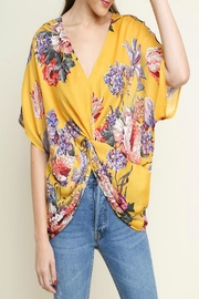 Umgee USA Floral Gathered-Knot Top - Product Mini Image