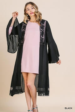 Shoptiques Product: Floral Lace Open Front Long Kimono