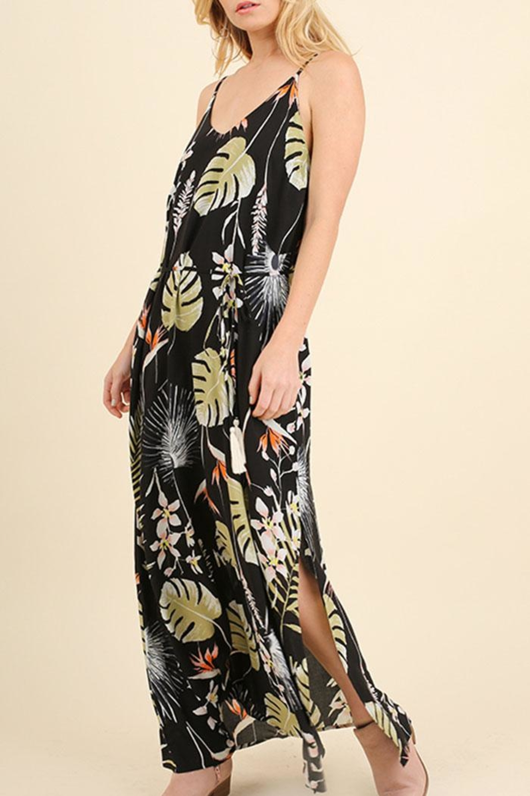 Umgee USA Floral Maxi Dress - Side Cropped Image