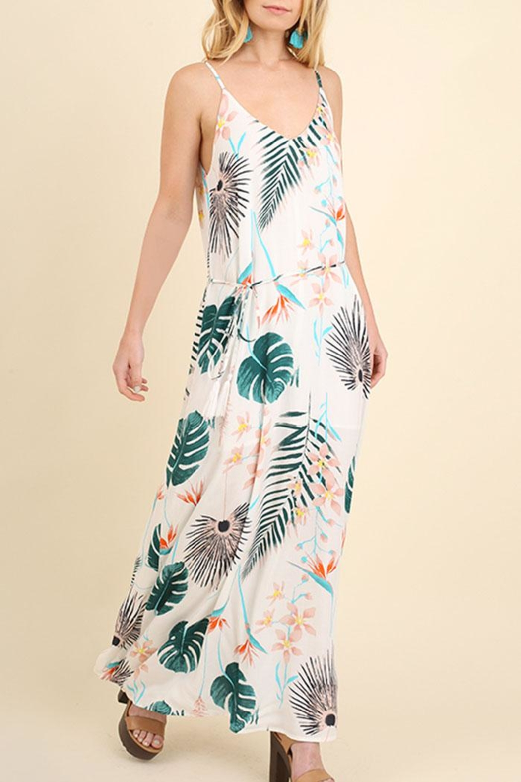 Umgee USA Floral Maxi Dress - Front Cropped Image