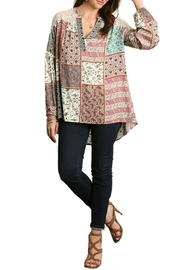 Umgee USA Floral Patch-Work Blouse - Front cropped