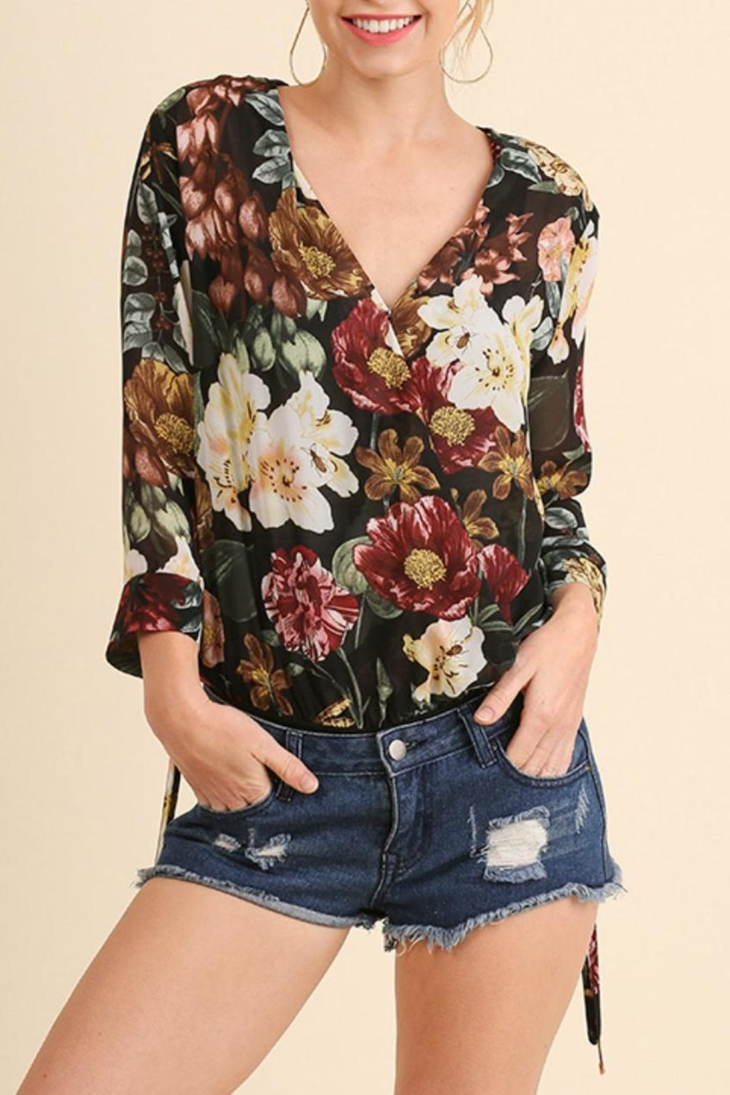 Umgee USA Floral Print Bodysuit - Front Full Image