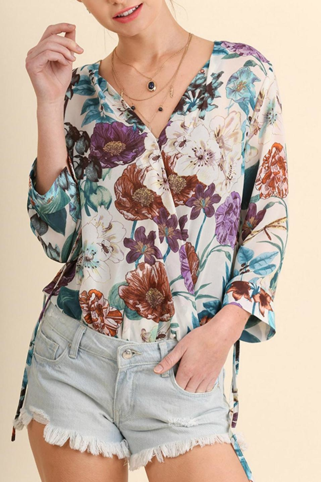 Umgee USA Floral Print Bodysuit - Front Cropped Image