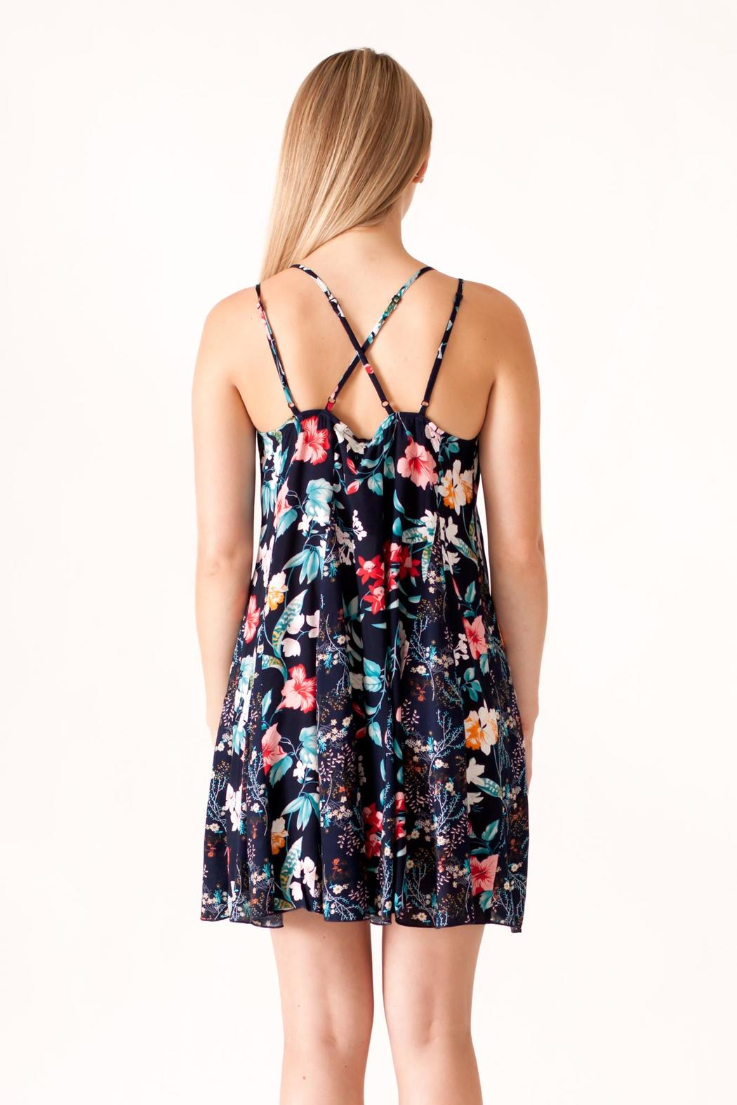 Umgee USA Floral Print Dress - Back Cropped Image