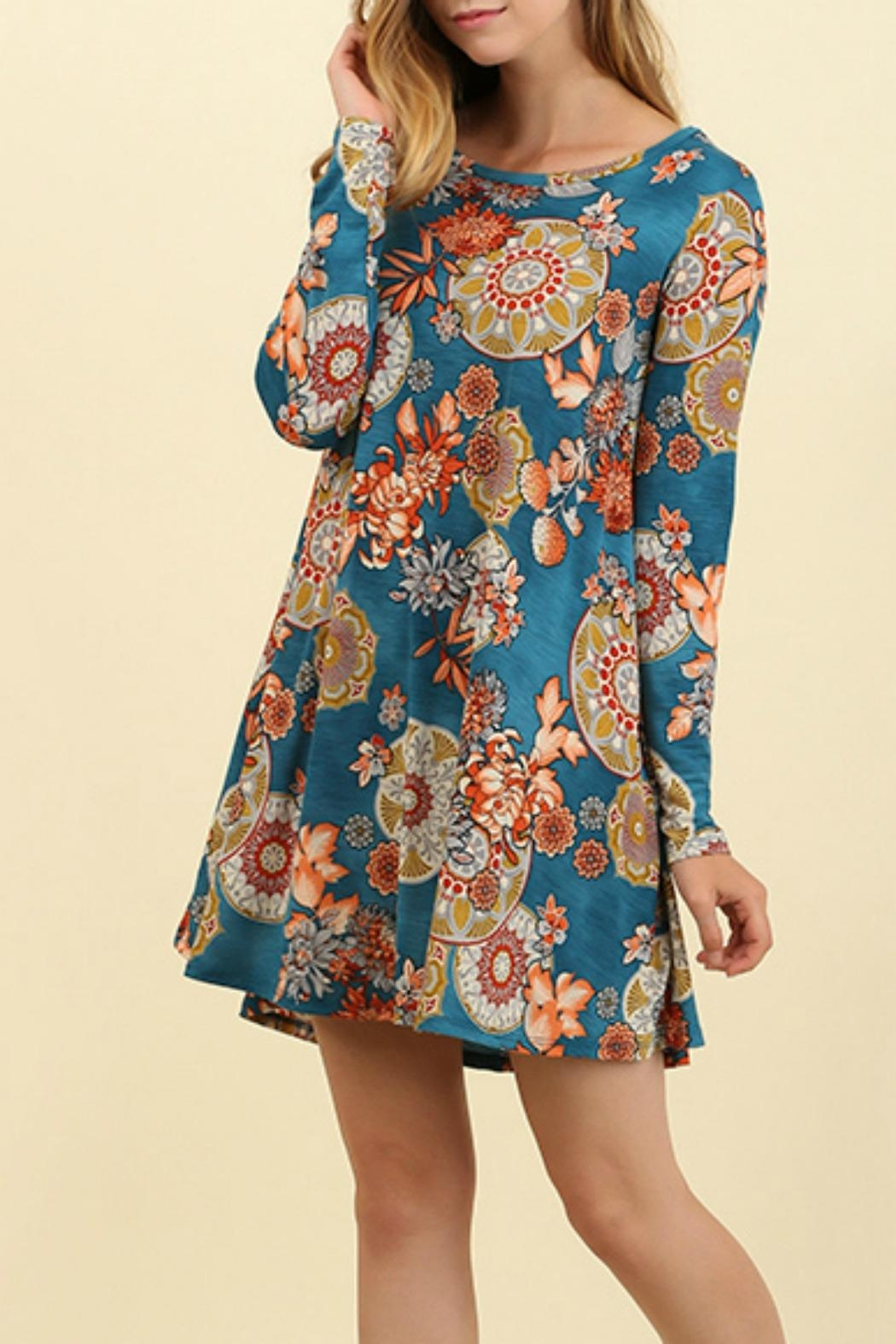 Umgee USA A Line Floral Dress - Front Cropped Image