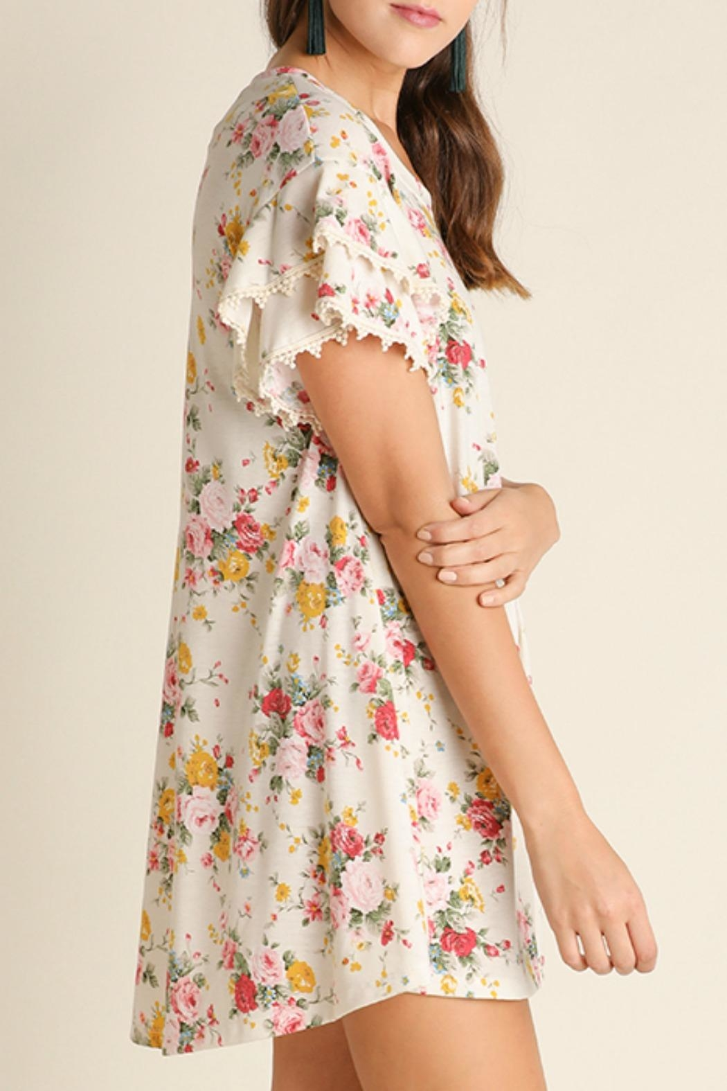 Umgee USA Floral Print Dress - Front Full Image