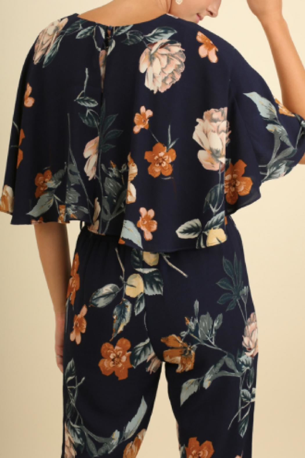 Umgee USA Floral Print Jumpsuit - Side Cropped Image