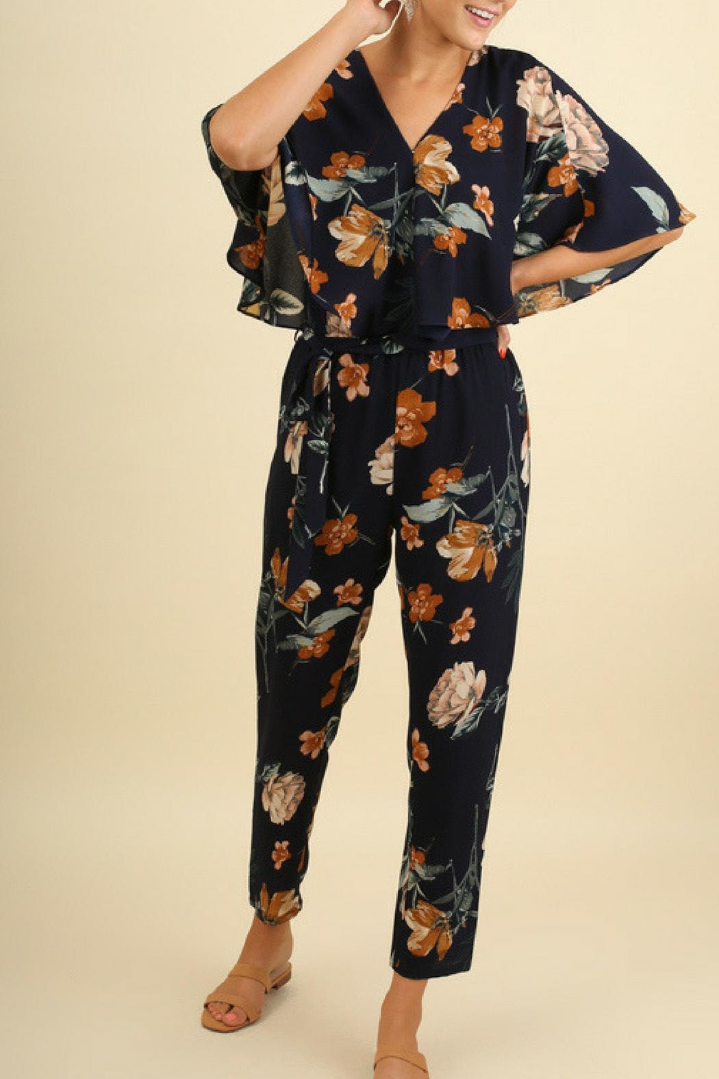 Umgee USA Floral Print Jumpsuit - Front Cropped Image