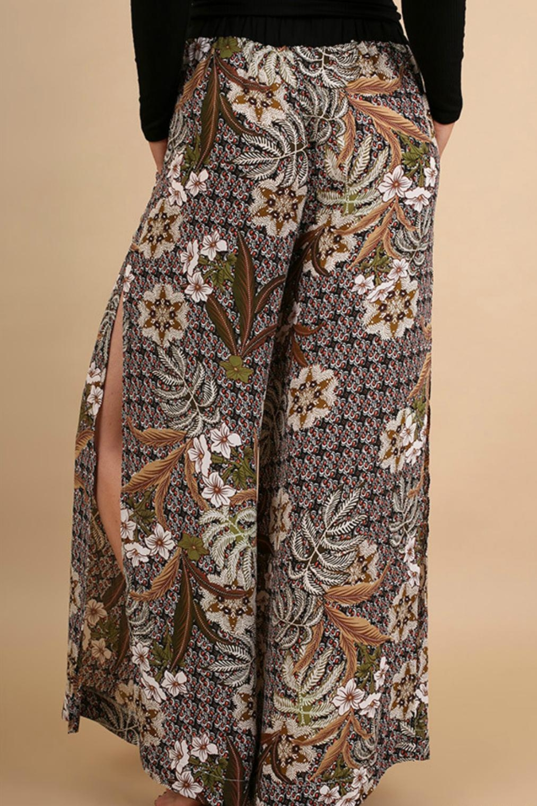 Umgee USA Floral Print Pants - Side Cropped Image