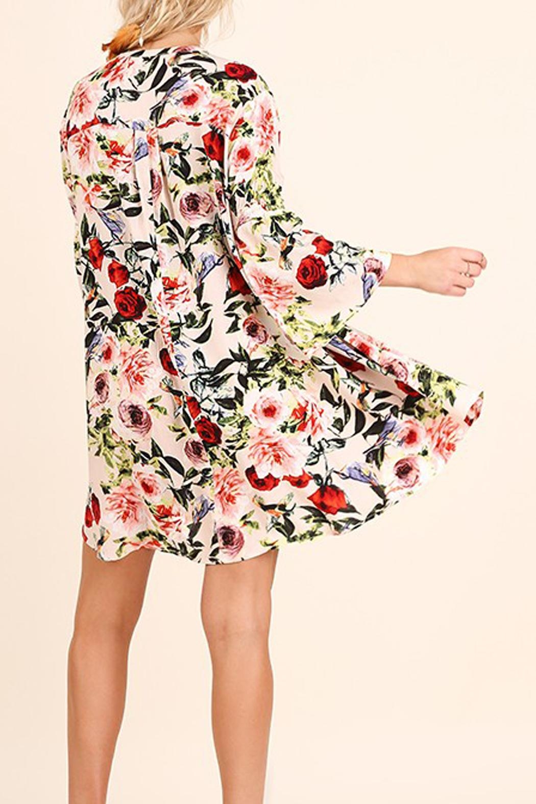 Umgee USA Floral Print Swing Dress - Side Cropped Image