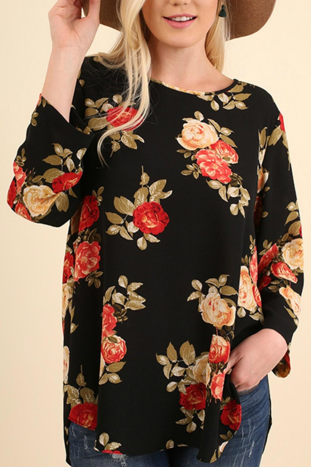 Umgee USA Floral Bohemian Blouse - Front Full Image