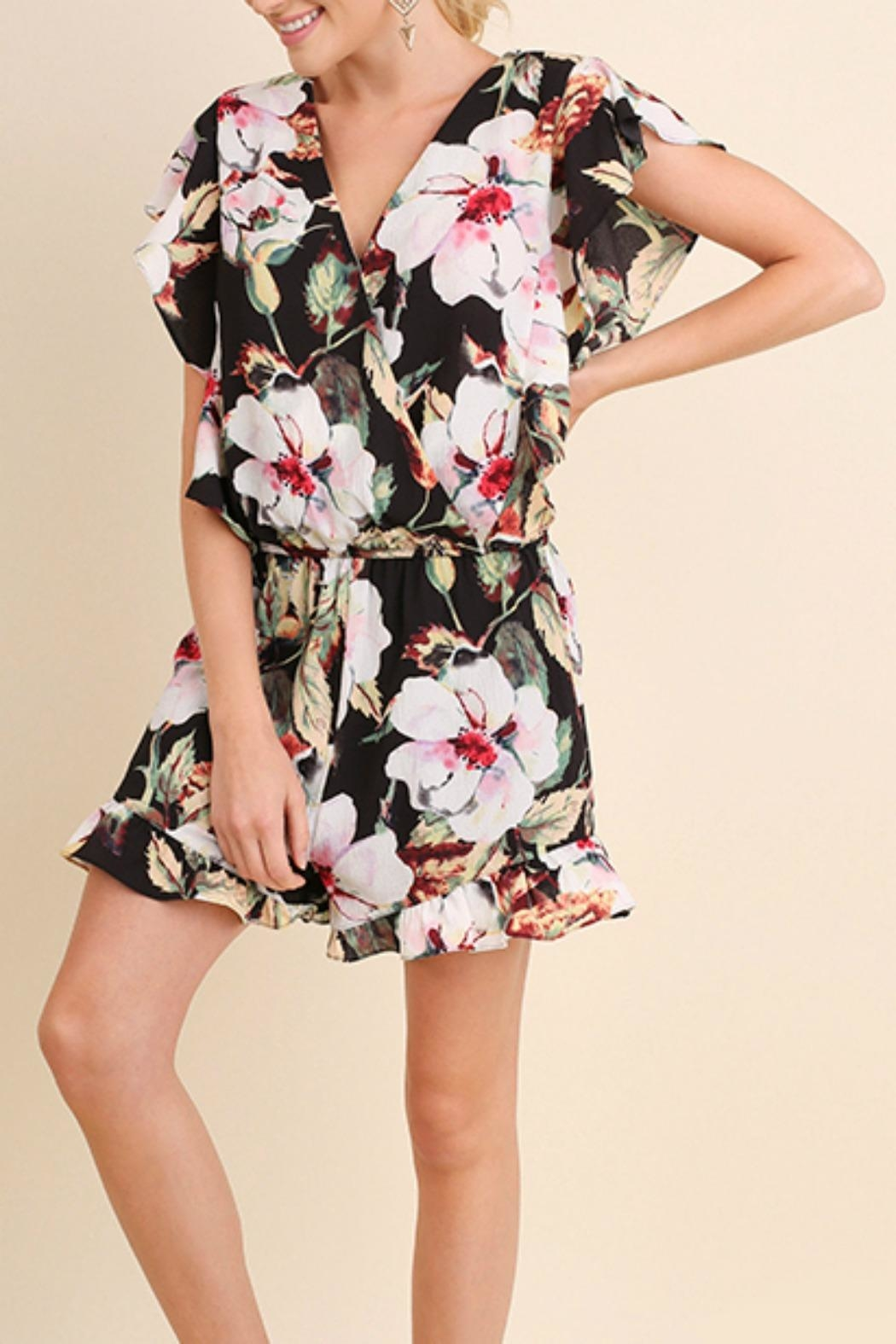 Umgee USA Floral Ruffle Romper - Front Cropped Image