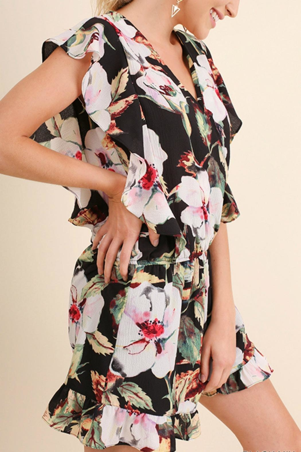 Umgee USA Floral Ruffle Romper - Side Cropped Image