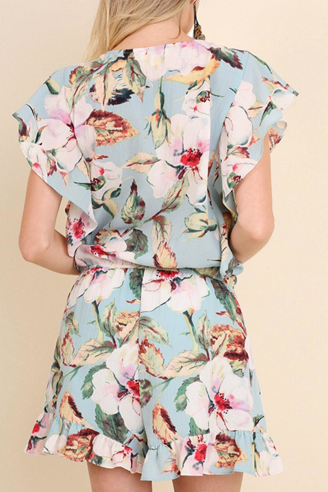 Umgee USA Floral Ruffle Romper - Back Cropped Image