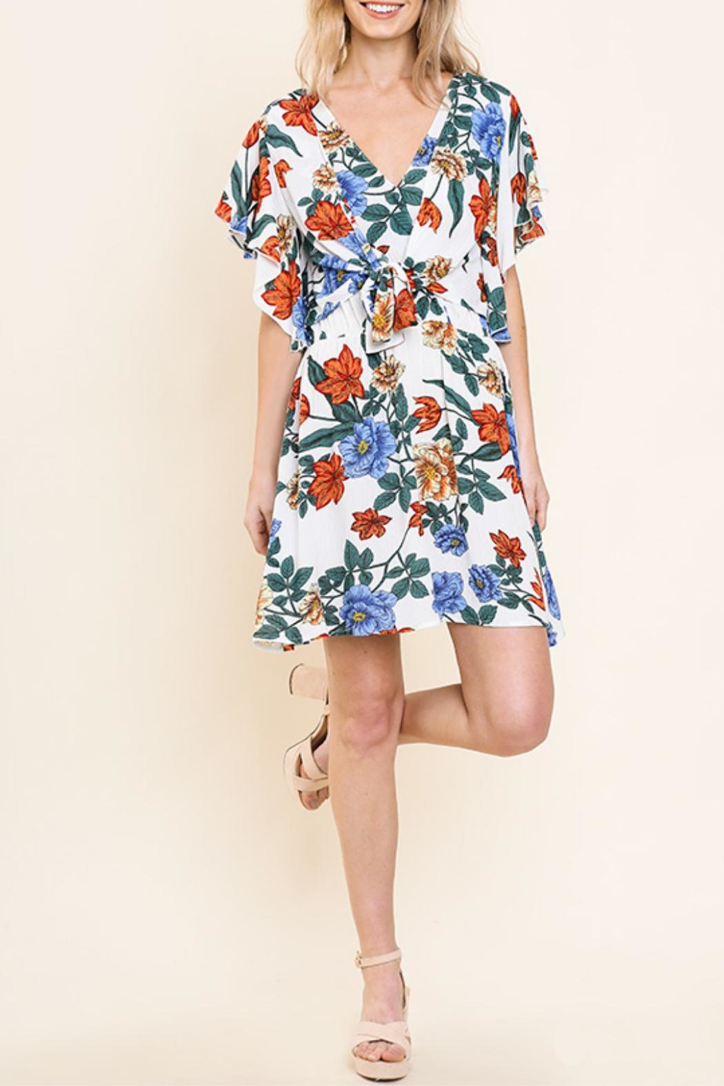 Umgee USA Floral Ruffle Dress - Front Cropped Image