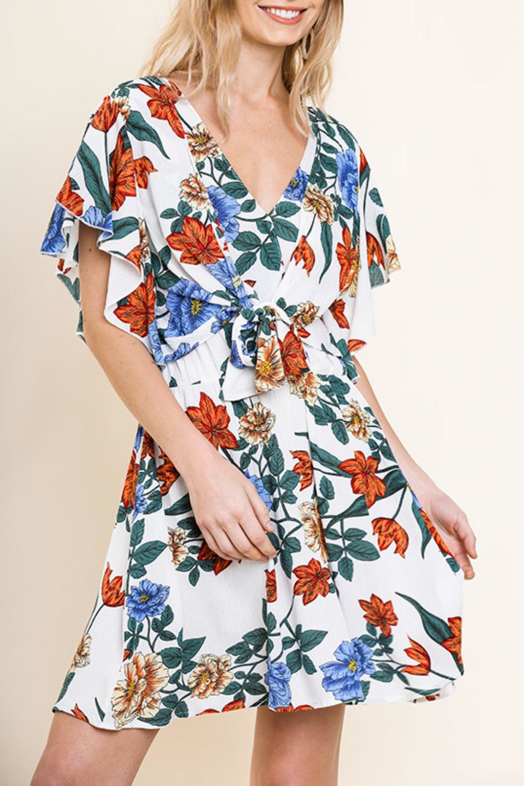 Umgee USA Floral Ruffle Dress - Front Full Image