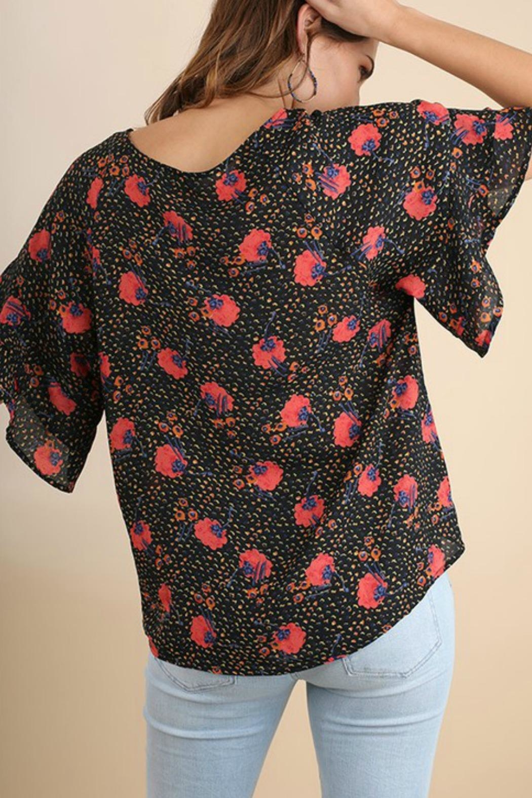 Umgee USA Floral Ruffle Top - Back Cropped Image