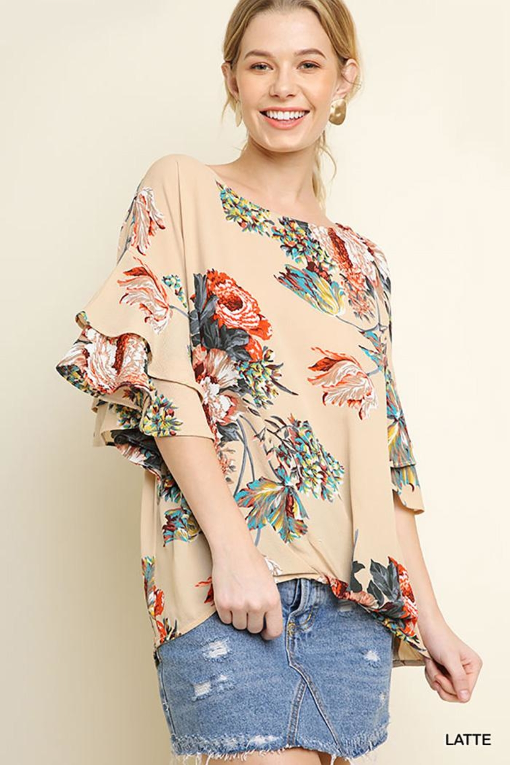 Umgee USA Floral Ruffled Blouse - Front Cropped Image