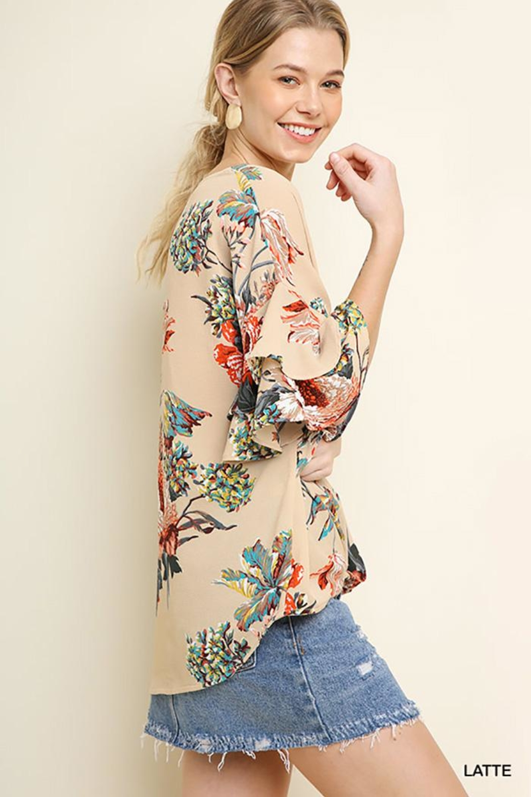 Umgee USA Floral Ruffled Blouse - Front Full Image