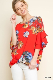 Umgee USA Floral Ruffled Blouse - Front cropped