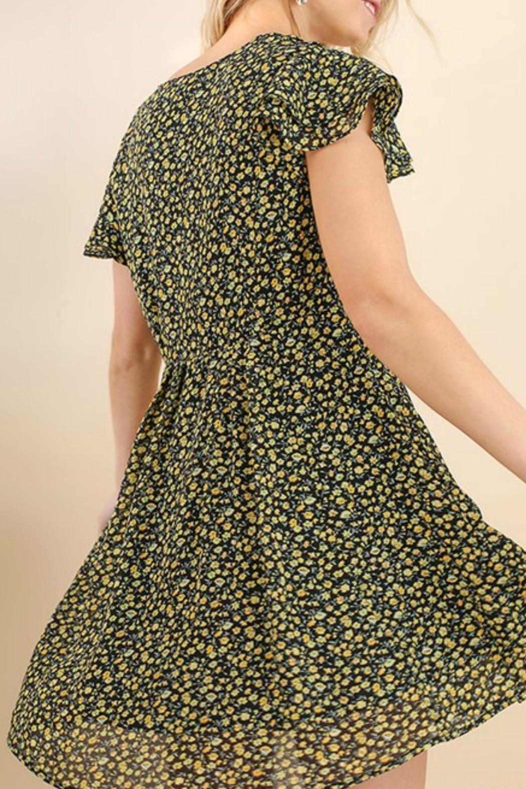 Umgee USA Floral Skater Dress - Back Cropped Image